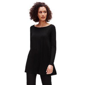 Eileen Fisher System Black Jersey Knit Tunic Small